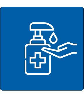 Pictograma de suelo para «se requiere desinfectar las manos»