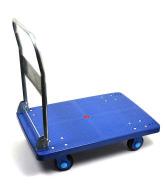 Carro con plataforma de plástico con manillar abatible y capacidad de carga de 300 kg