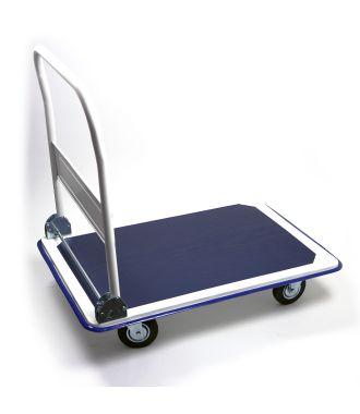 Carro con plataforma de acero con manillar abatible y capacidad de carga de 300 kg