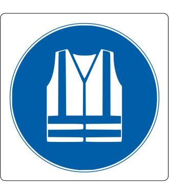 Pictograma de piso para «Chaleco de seguridad requerido»