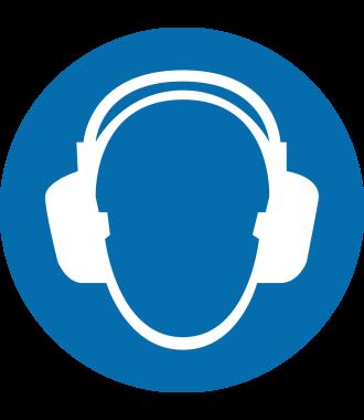 """Pictograma de piso antideslizante: """"Protección auditiva requerida"""""""