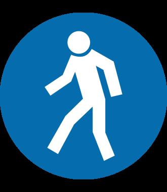 """Pictograma de piso antideslizante: """"Solo peatones"""""""
