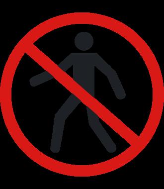 """Pictograma de piso antideslizante: """"Prohibido el paso de peatones"""""""