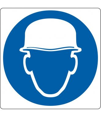 Pictograma de piso para «Casco de seguridad requerido»