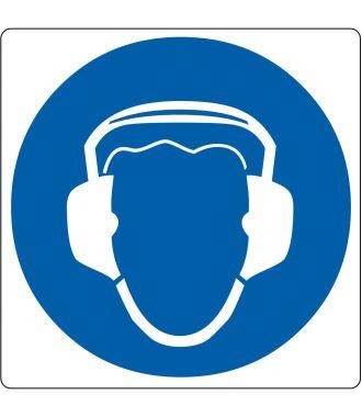 Pictograma de suelo para «Protección auditiva requerida»