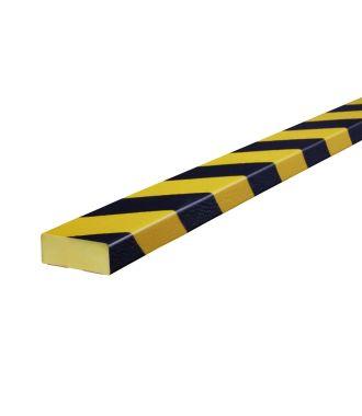 Perfil protector Knuffi para superficies planas, tipo D - amarillo y negro - 5 metro