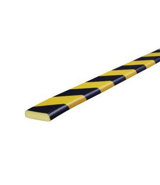 Perfil protector Knuffi para superficies planas, tipo F - amarillo y negro - 5 metro