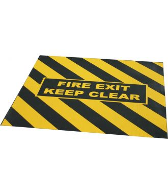 "Cinta de advertencia de ""FIRE EXIT KEEP CLEAR"" para salida de emergencia"