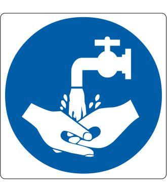 Pictograma de suelo para «se requiere lavado de manos»